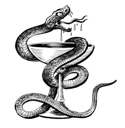 Snake and cup. Ink black and white illustration