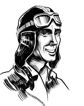 Pilot character in helmet. Ink black and white illustration Stockfoto