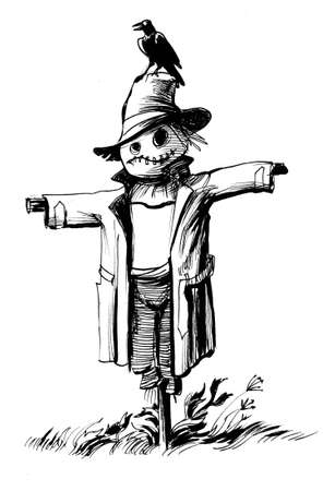 Scarecrow and a raven bird. Ink black and white illustration
