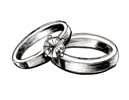 Anillos de boda. Ilustración de tinta en blanco y negro