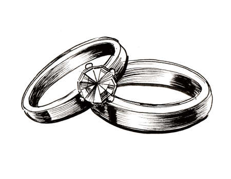 Wedding rings. Ink black and white illustration Foto de archivo - 104414351