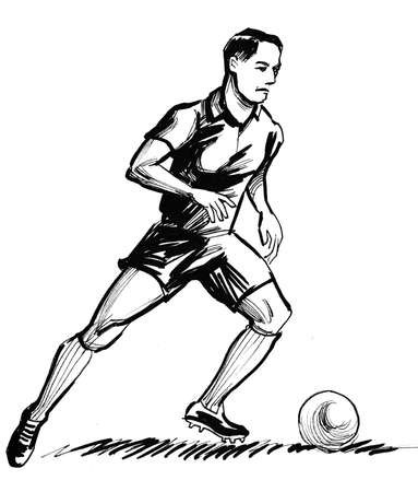 Soccer player. Ink black and white illustration