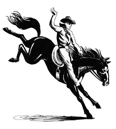 Cowboy riding a horse. Ink black and white illustration