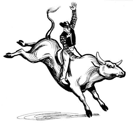 Cowboy riding a bull. Ink black and white illustration 스톡 콘텐츠