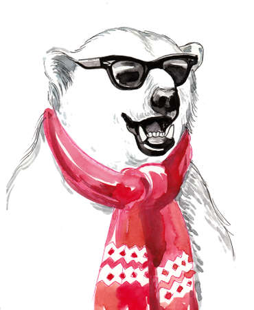 Cool polar bear in sun glasses and red scarf. Ink and watercolor illustration