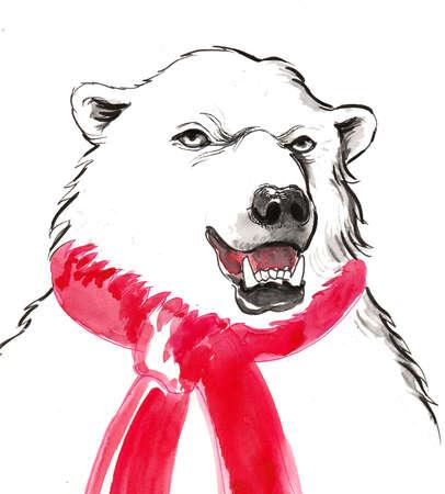 Polar bear in red scarf 스톡 콘텐츠