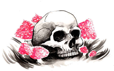 Human skull and poisonous mushrooms. Ink and watercolor illustration