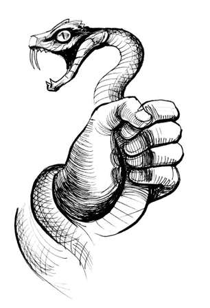 Hand struggling with an angry snake. Ink black and white illustration