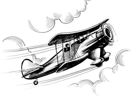 Flying retro biplane. ink black and white illustration Stockfoto