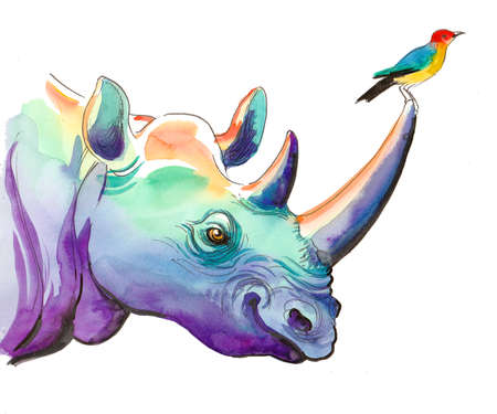 Watercolor rhinoceros with a small colorful bird sitting on its horn