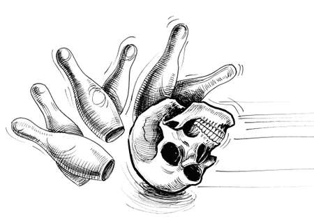 Deadly bowling. Ink black and white drawing of a human skull hitting a bowling skittles