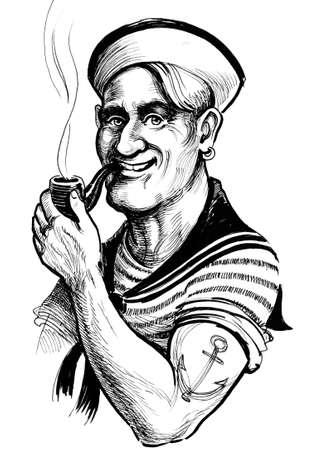 Marynarz palący fajkę. Atramentowa czarno-biała ilustracja