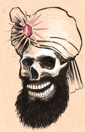 Indian skull. Ink black and white illustration