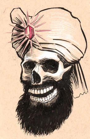 Indian skull. Ink black and white illustration