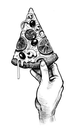Hand holding a slice of pizza. Ink black and white illustration