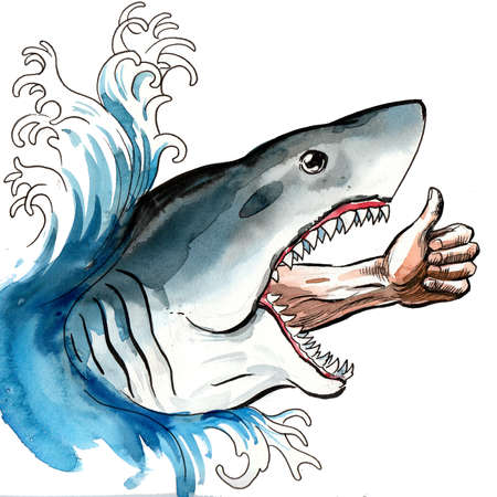 Shark and hand showing thumb up. Ink and watercolor illustration