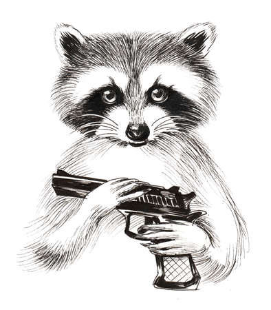 Cute raccoon with a gun. Ink black and white illustration