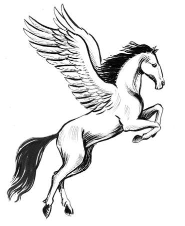 Flying pegasus. Ink black and white illustration