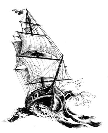 Old sailing ship in a stormy sea. Ink black and white illustration
