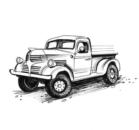 Old American truck. Ink black and white drawing Imagens