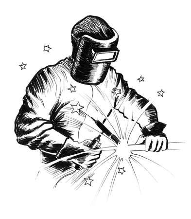 Working welder. Ink black and white illustration