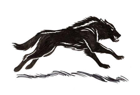 Running black wolf. Ink black and white illustration