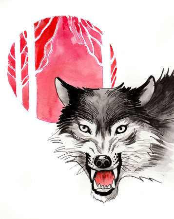 Angry wolf and red sun. Ink and watercolor illustration