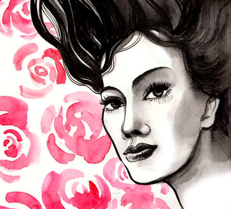 Neautiful woman and roses. Ink and watercolor illustration Stock Photo