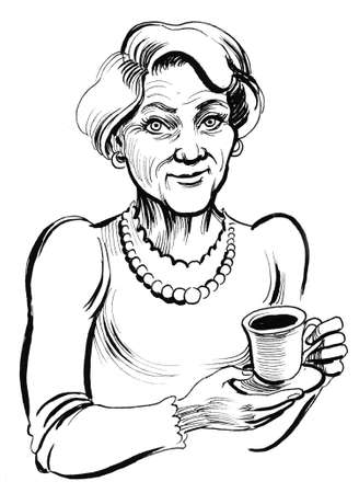 Old lady with a cup of tea. Ink black and white illustration