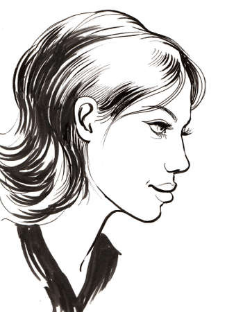 Pretty woman profile. Ink black and white illustration