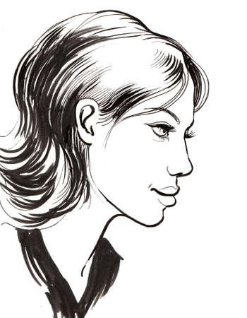 Pretty woman profile. Ink black and white illustration