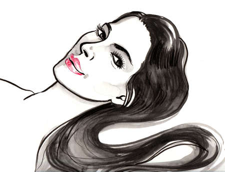 Pretty laying woman with a black long hair. Ink and watercolor illustration