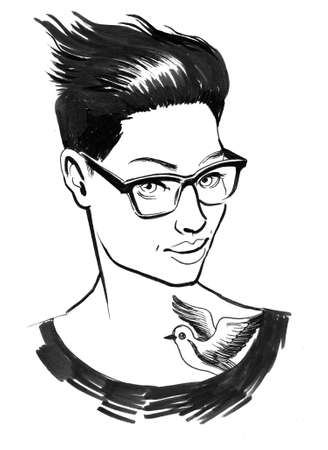 Pretty woman with short haircut and bird tattoo. Ink black and white illustration