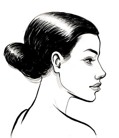 Beautiful brunette woman profile. Ink black and white illustration