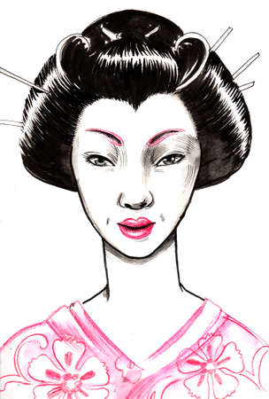 Japanese beauty. Ink and watercolor illustration