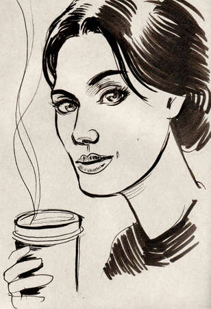 Pretty woman with a hot coffee cup. Ink black and white illustration
