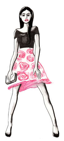 Pretty fashion model in black top and pink skirt. Ink and  illustration