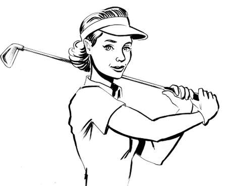 Pretty woman with a golf club. Ink black and white illustration Foto de archivo