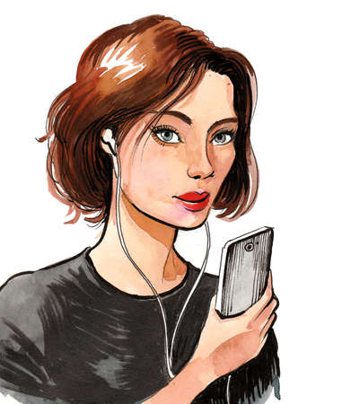 Pretty woman with a smartphone. Ink and watercolor illustration Reklamní fotografie