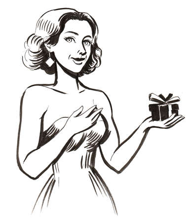 Pretty woman with a present. ink black and white illustration 版權商用圖片 - 105171814