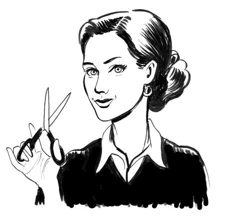 Pretty woman with a scissors. Ink black and white illustration