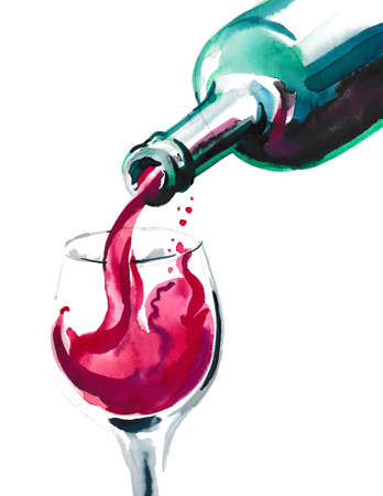 Wine pouring from the bottle into the glass. Watercolor illustration