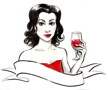 Beautiful woman with a glass of red wine