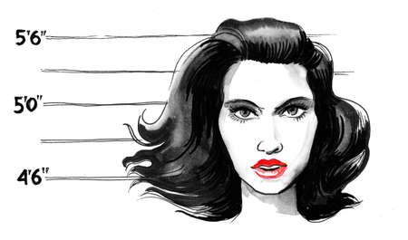 Pretty female mugshot. Ink black and white illustration Stockfoto