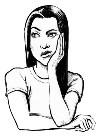 Pretty girl thinking hard. Ink black and white illustration Stok Fotoğraf