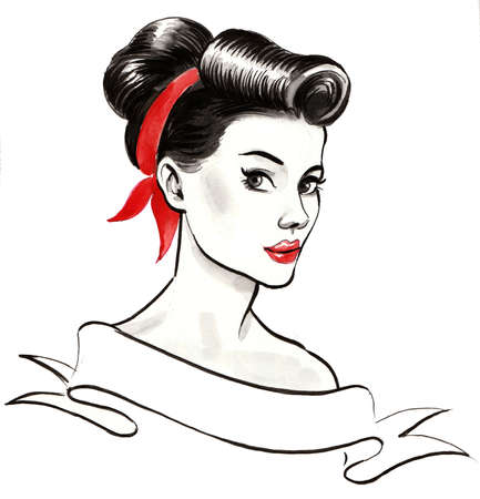 Pretty pin-up styled woman and blank banner