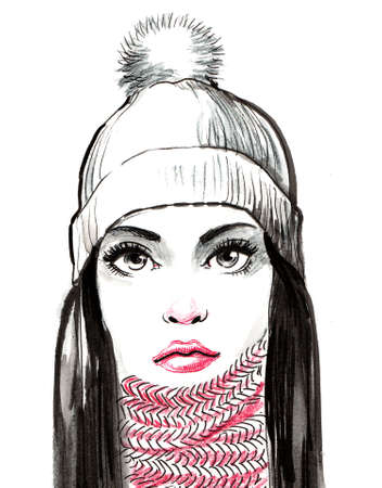 Pretty woman in scarf and hat. Ink and watercolor illustration Banco de Imagens