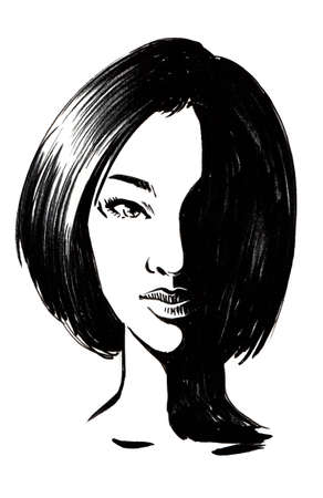 Female face with a haircut. Ink black and white illustration