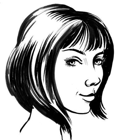 Pretty woman with a haircut. Ink black and white illustration