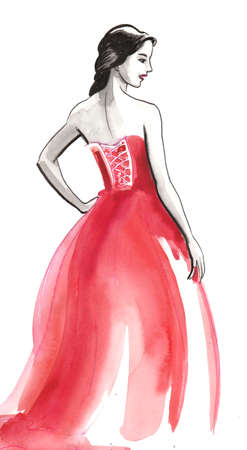 Beautiful woman in red dress. Ink and watercolor illustration